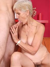 Sensual elderly woman Irene puts on a show on webcam and agrees to fuck one of her fans